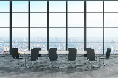 Modern conference room niterior with panoramic city view and sunlight. 3D Rendering