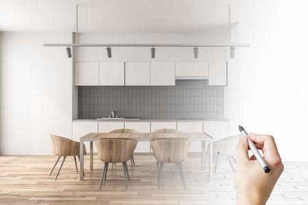 Dessin à la main de l'intérieur de la cuisine moderne. Concept de plan et de plan directeur. Rendu 3D Banque d'images