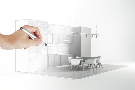 Architect hand drawing abstract modern kitchen interior on white background. Engineering and blueprint concept.