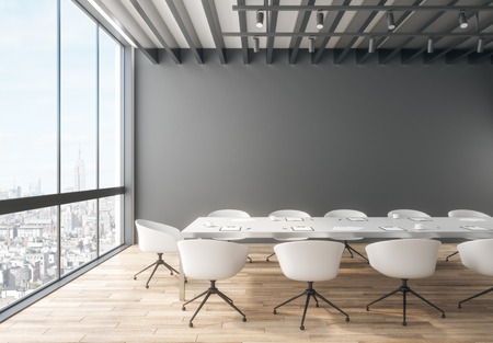 Creative meeting room interior with city view and copy space on wall. 3D Rendering