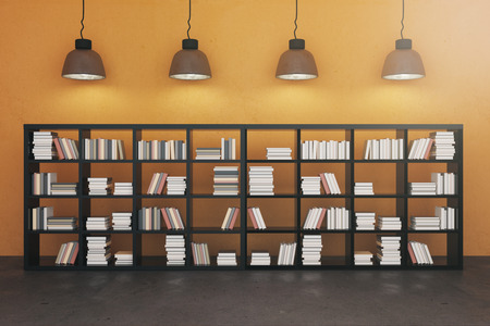 Contemporary interior with bookshelf. Education, knowledge and library concept. 3D Rendering Stok Fotoğraf