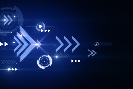 Blue digital background with arrows. Play and media concept. 3D Rendering Stock fotó
