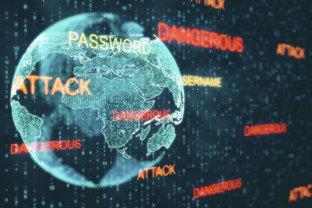 Abstract hacked globe on blurry binary code background. Hacking and malware concept. Double exposure Stock Photo