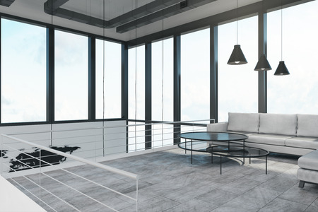 Clean spacious two storey concrete white office with panoramic city view and daylight. 3D Rendering