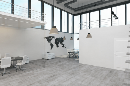 Clean spacious two storey concrete white office interior with panoramic city view and daylight. 3D Rendering