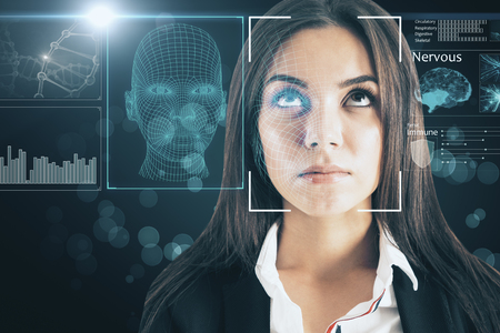 Portrait of attractive young european businesswoman with abstract face interface on blurry background. Biometrics and access concept. Double exposure