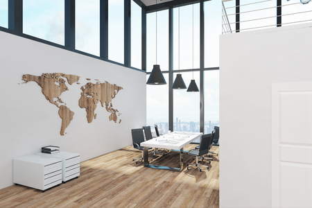 White two story office interior with panoramic window view, furniture and daylight. 3D Rendering