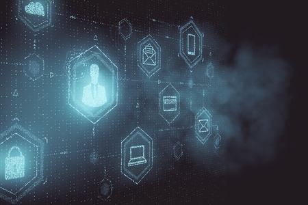 Interface d'icône de personnes floues créatives sur fond de grille. Rendu 3D Banque d'images