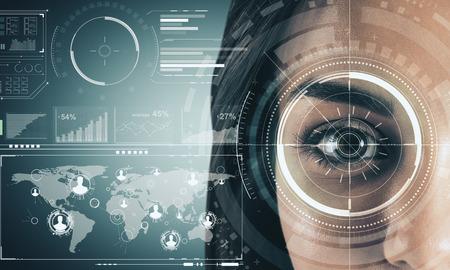 Cerca del rostro de mujer con interfaz de negocios digitales. Concepto de biometría e internet. Exposición doble Foto de archivo