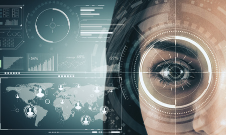 Close up of woman face with digital business interface. Biometrics and internet concept. Double exposure