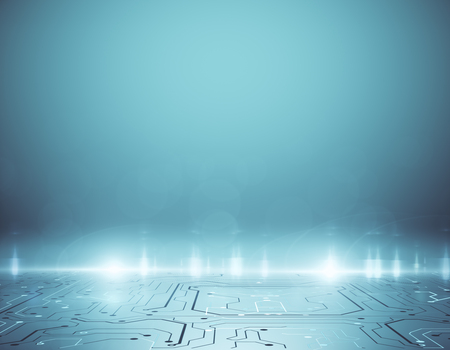 Abstract blue circuit background with copy space