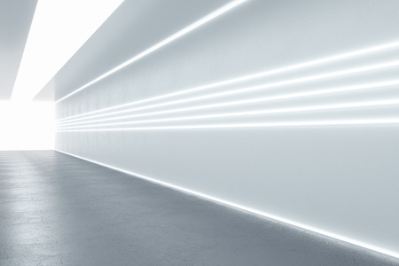 Modern illuminated corridor interior. Hospital concept. 3D Rendering