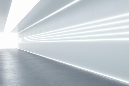 Nowoczesne, oświetlone wnętrze korytarza. Koncepcja szpitala. Renderowanie 3D