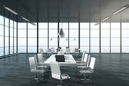 Contemporary boarding room niterior with panoramic city view and sunlight. 3D Rendering Stockfoto