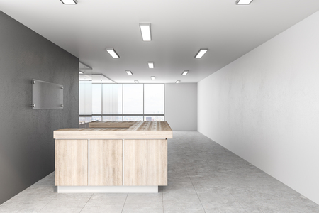 New office lobby with reception desk. 3D Rendering Banco de Imagens
