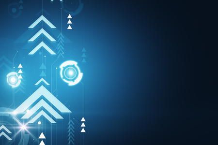 Blue digital backdrop with arrows. Play and media concept. 3D Rendering