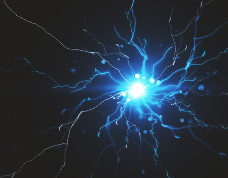 Abstract blue lightning neon background. 3D Rendering