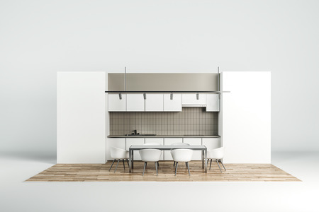 Abstract new kitchen interior on white background. Style and design concept. 3D Rendering