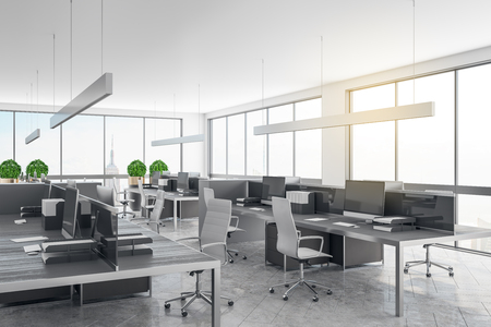 Beautiful coworking office interior with panoramic city view, daylight and equipment. 3D Rendering Stockfoto
