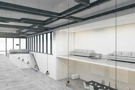 Light spacious two storey concrete white office interior with panoramic city view and daylight. 3D Rendering