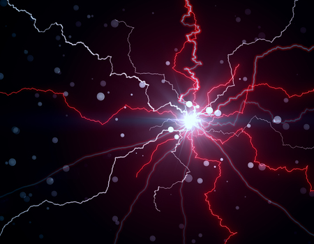 Abstract red lightning neon texture. 3D Rendering