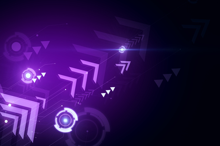 Purple digital wallpaper with arrows. Play and media concept. 3D Rendering Stock fotó - 113708700