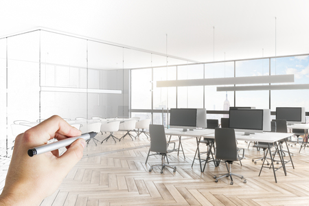 Hand drawing modern meeting room sketch. Engineering and architecture concept. 3D Rendering Foto de archivo