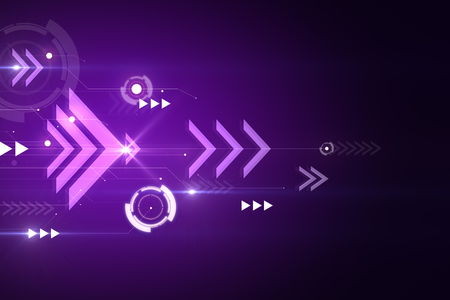 Purple digital background with arrows. Play and media concept. 3D Rendering