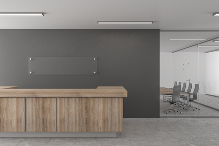 Concrete office lobby with reception desk. 3D Rendering