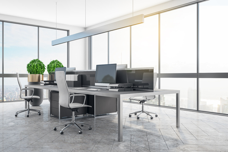 Modern coworking office room interior with panoramic city view, daylight and equipment. 3D Rendering