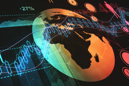 Creative background with forex chart and globe. Trade and global economy concept. 3D Rendering