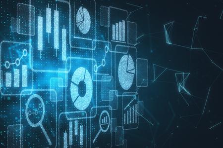 Digital business hologram backdrop. Technology and media concept. 3D Rendering