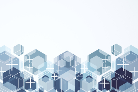Creative hexagonal texture with crosses and white copy space. Medicine and web page concept. 3D Rendering Stok Fotoğraf