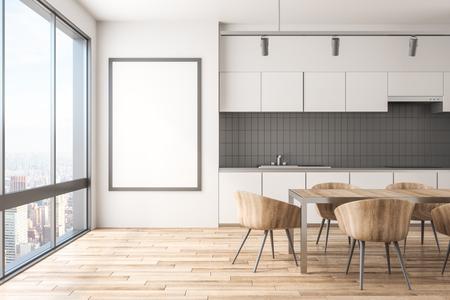 Intérieur de cuisine moderne avec vue sur la ville de New York, mobilier, lumière du jour et cadre vide sur mur en béton. Maquette, rendu 3D Banque d'images