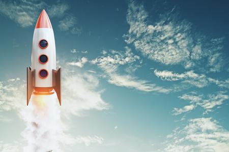 Lanzamiento de cohetes sobre fondo de cielo azul con nubes y espacio de copia. Concepto de puesta en marcha y proyecto. Representación 3D