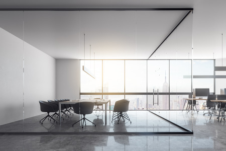 Modern glass office interior with panoramic city view, furniture and daylight. 3D Rendering