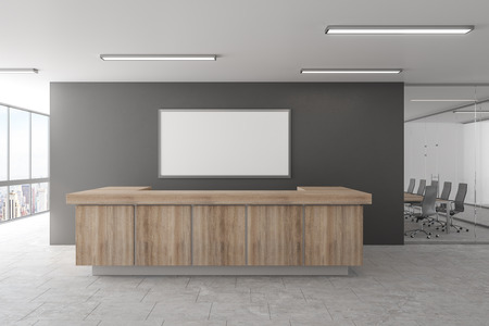Modern office lobby with reception desk and empty frame. Mock up, 3D Rendering