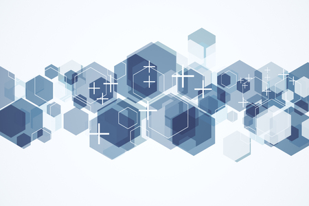 Abstract hexagonal backdrop with crosses and white copy space. Medicine and web page concept. 3D Rendering Stok Fotoğraf
