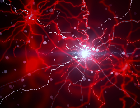 Abstract red lightning neon wallpaper. 3D Rendering Фото со стока