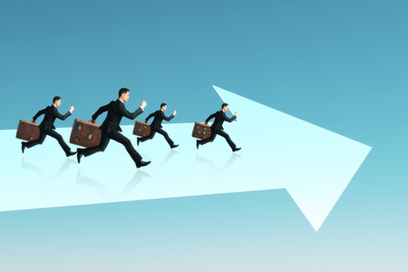Businessmen with briefcases running on abstract white arrow. Blue background. Growth and teamwork concept Stok Fotoğraf