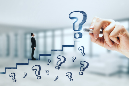 Businessman climbing abstract stairs sketch with question marks on blurry background. Career promotion and doubt concept