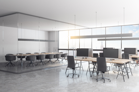 Clean glass office interior with panoramic city view, furniture and daylight. 3D Rendering
