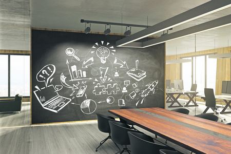 Modern meeting room with business sketch on whiteboard. Seminar and finance concept. 3D Rendering