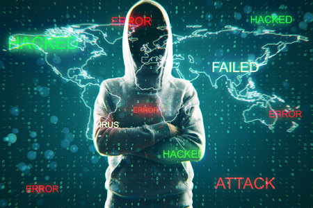 Hacker on binary code background with map. Hacker and attack concept. Double exposure