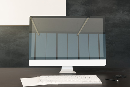 Close up of office desk with reflections on empty computer. Mock up, 3D Rendering