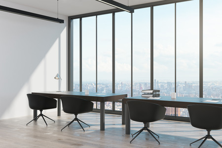 Concrete coworking office interior with panoramic city view. 3D Rendering