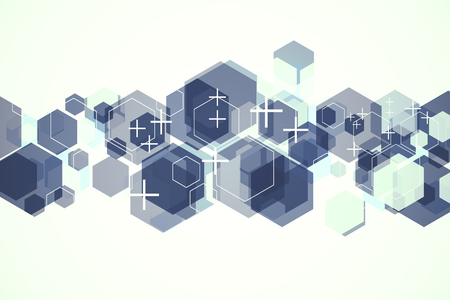 Abstract hexagonal background with crosses and white copy space. Medicine and web page concept. 3D Rendering