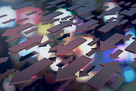 Abstract arrows on blurry background. Direction and choice concept. 3D Rendering