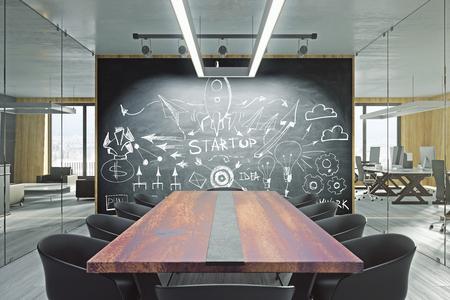 Modern meeting room with creative business sketch on blackboard. Entrepreneurship and startup concept. 3D Rendering Standard-Bild - 114608901