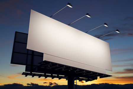 Clean billboard on sky background. Commercial concept. Mock up, 3D Rendering Фото со стока